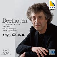 THREE PIANO SONATAS/ SERGEI EDELMANN [SACD HYBRID] [베토벤: 피아노 소나타 4번, 14번 '월광', 23번 '열정' - 세르게이 에델만]