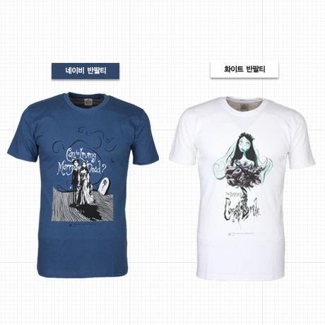 팀 버튼 유령신부 티셔츠 [화이트 L]
