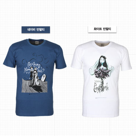 팀 버튼 유령신부 티셔츠 [화이트 S]